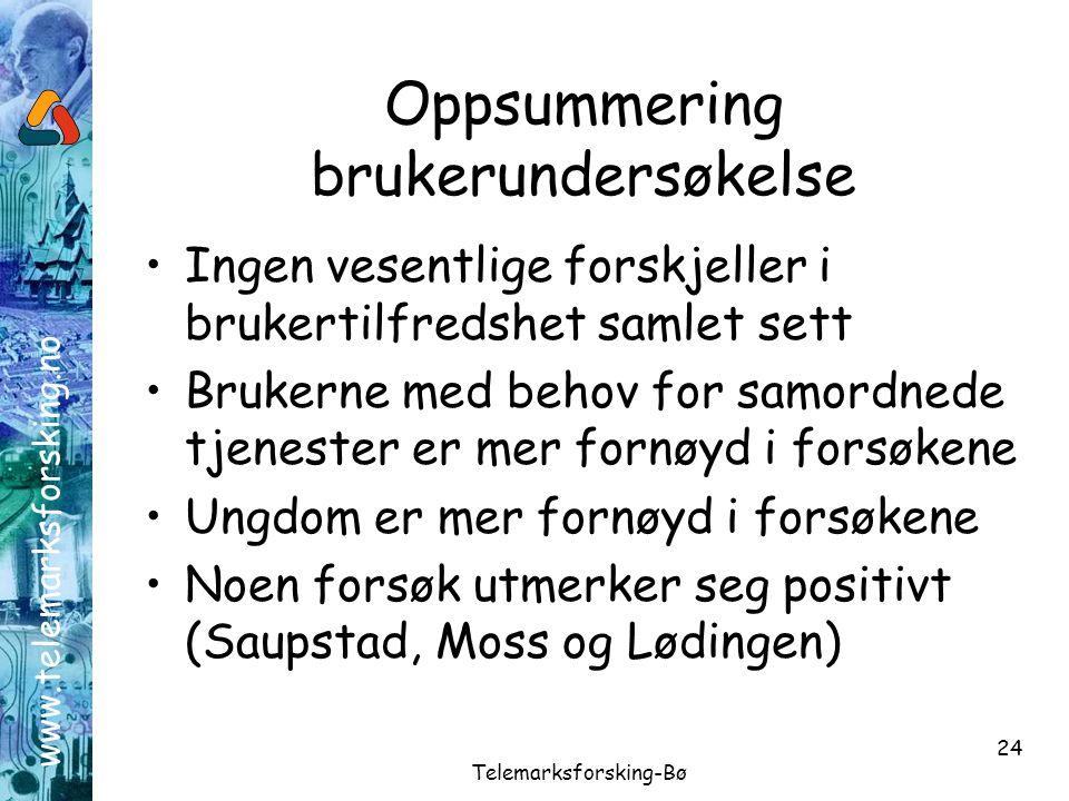 www.telemarksforsking.no Telemarksforsking-Bø 24 Oppsummering brukerundersøkelse •Ingen vesentlige forskjeller i brukertilfredshet samlet sett •Bruker