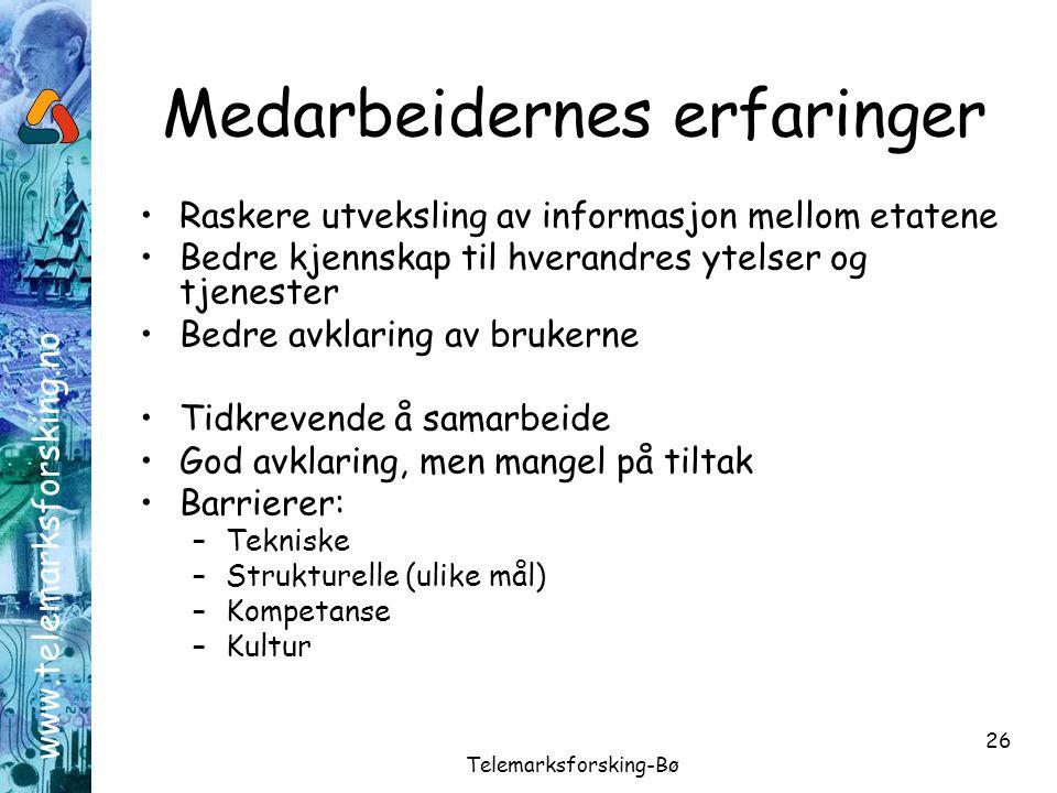 www.telemarksforsking.no Telemarksforsking-Bø 26 Medarbeidernes erfaringer •Raskere utveksling av informasjon mellom etatene •Bedre kjennskap til hver