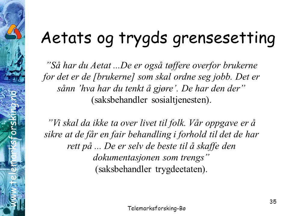 """www.telemarksforsking.no Telemarksforsking-Bø 35 Aetats og trygds grensesetting """"Så har du Aetat...De er også tøffere overfor brukerne for det er de ["""