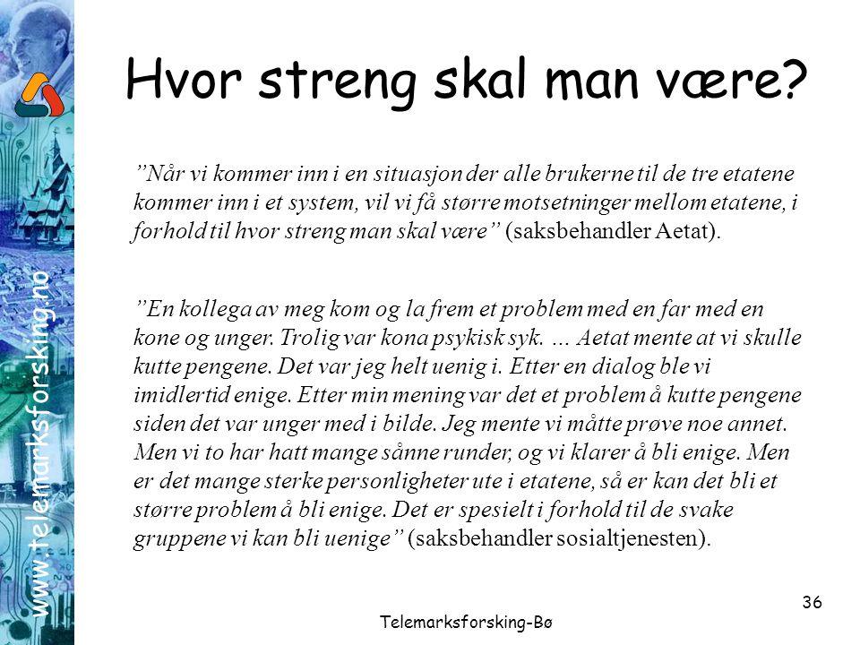 "www.telemarksforsking.no Telemarksforsking-Bø 36 Hvor streng skal man være? ""En kollega av meg kom og la frem et problem med en far med en kone og ung"