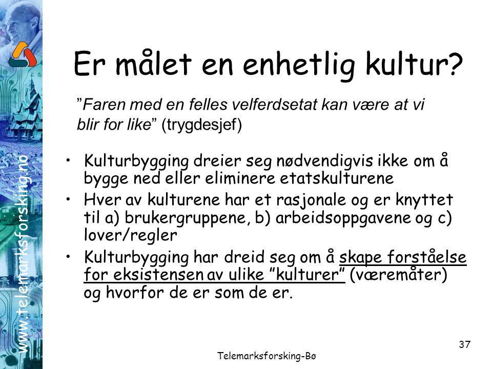 www.telemarksforsking.no Telemarksforsking-Bø 37 Er målet en enhetlig kultur? •Kulturbygging dreier seg nødvendigvis ikke om å bygge ned eller elimine