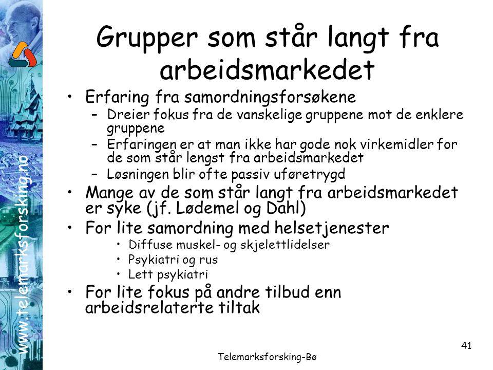 www.telemarksforsking.no Telemarksforsking-Bø 41 Grupper som står langt fra arbeidsmarkedet •Erfaring fra samordningsforsøkene –Dreier fokus fra de va