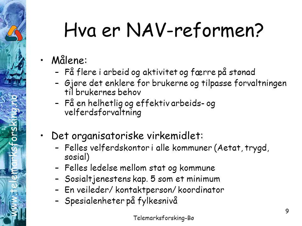 www.telemarksforsking.no Telemarksforsking-Bø 9 Hva er NAV-reformen? •Målene: –Få flere i arbeid og aktivitet og færre på stønad –Gjøre det enklere fo