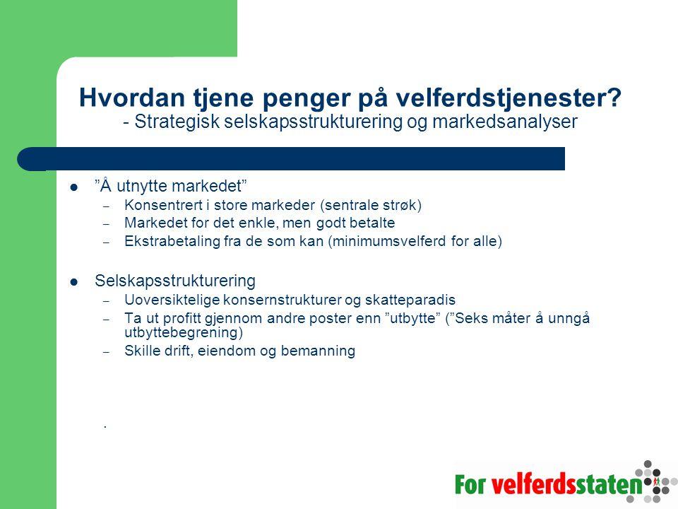 """Hvordan tjene penger på velferdstjenester? - Strategisk selskapsstrukturering og markedsanalyser  """"Å utnytte markedet"""" – Konsentrert i store markeder"""