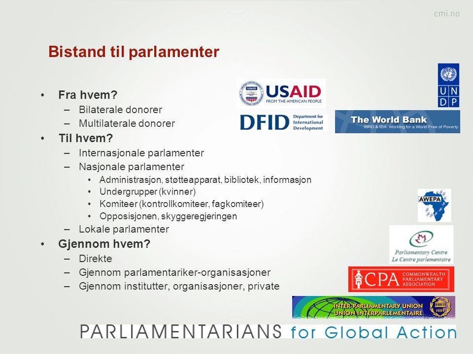 Bistand til parlamenter •Fra hvem.–Bilaterale donorer –Multilaterale donorer •Til hvem.