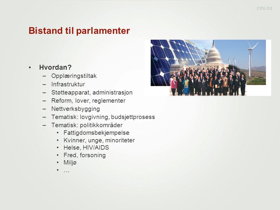 Bistand til parlamenter •Hvordan.