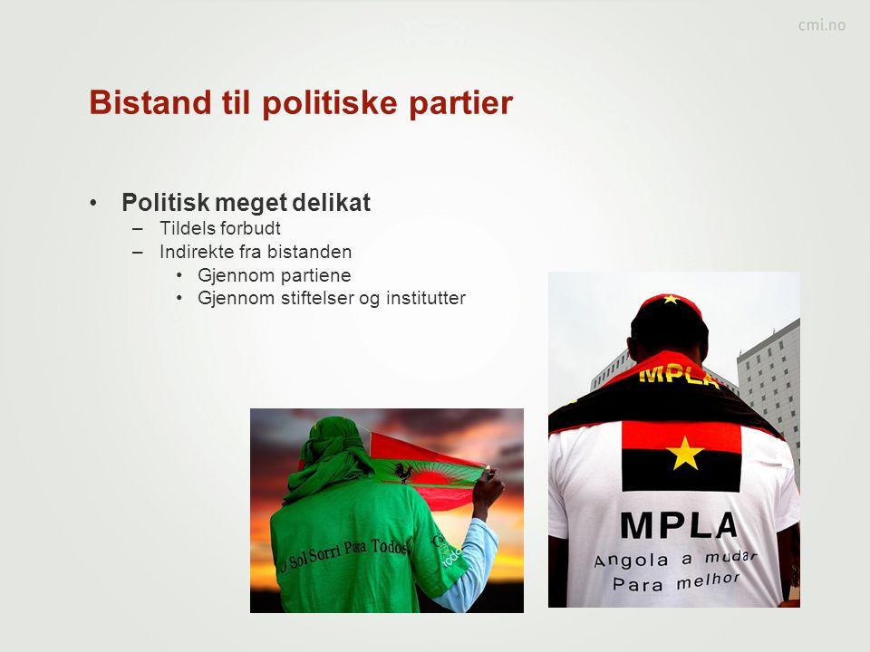 Bistand til politiske partier •Politisk meget delikat –Tildels forbudt –Indirekte fra bistanden •Gjennom partiene •Gjennom stiftelser og institutter