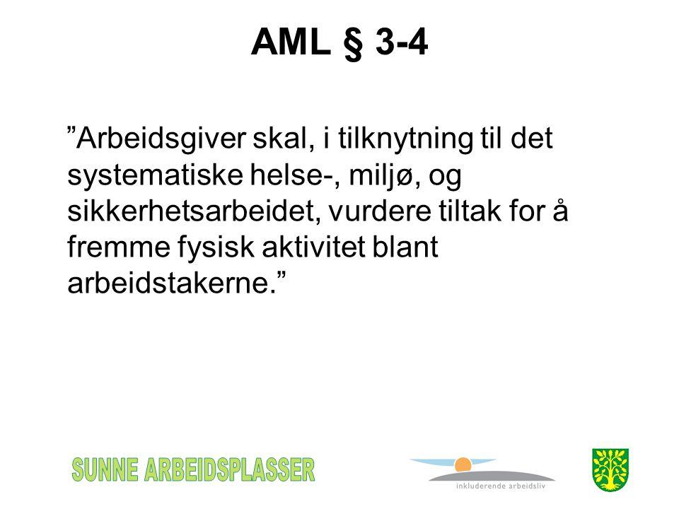AML § 3-4 Arbeidsgiver skal, i tilknytning til det systematiske helse-, miljø, og sikkerhetsarbeidet, vurdere tiltak for å fremme fysisk aktivitet blant arbeidstakerne.