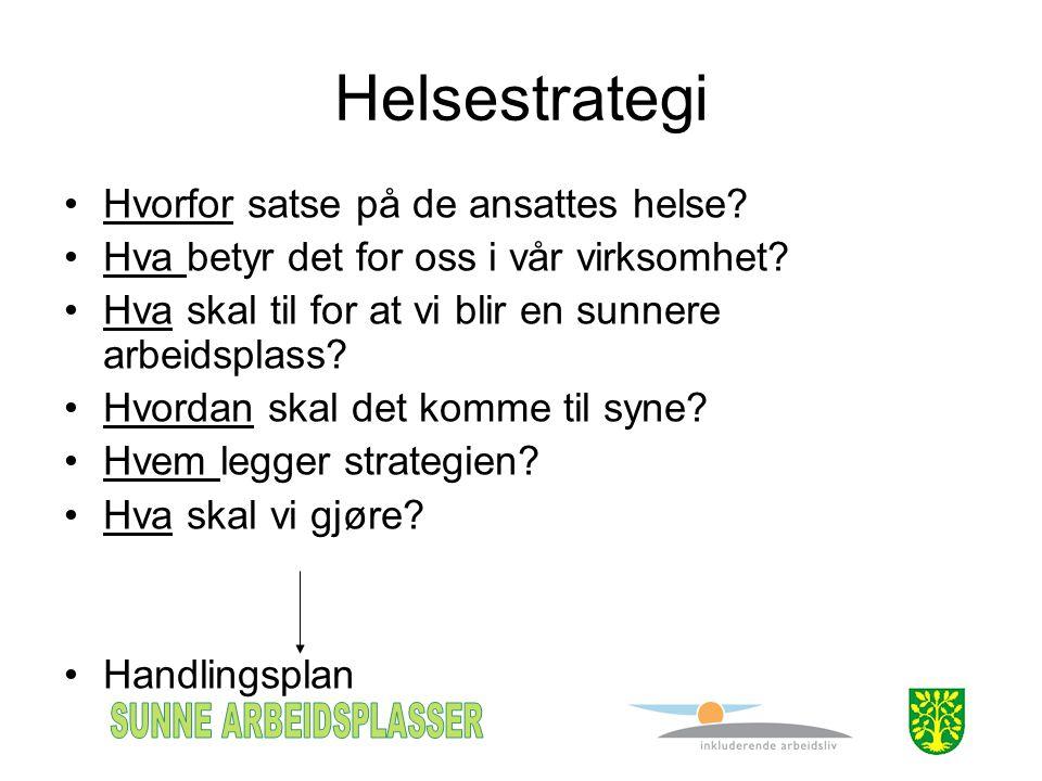 Helsestrategi •Hvorfor satse på de ansattes helse? •Hva betyr det for oss i vår virksomhet? •Hva skal til for at vi blir en sunnere arbeidsplass? •Hvo