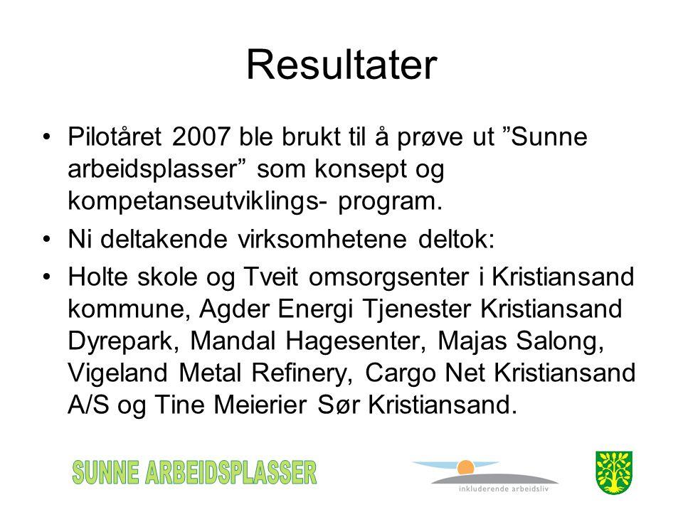 Resultater •Pilotåret 2007 ble brukt til å prøve ut Sunne arbeidsplasser som konsept og kompetanseutviklings- program.
