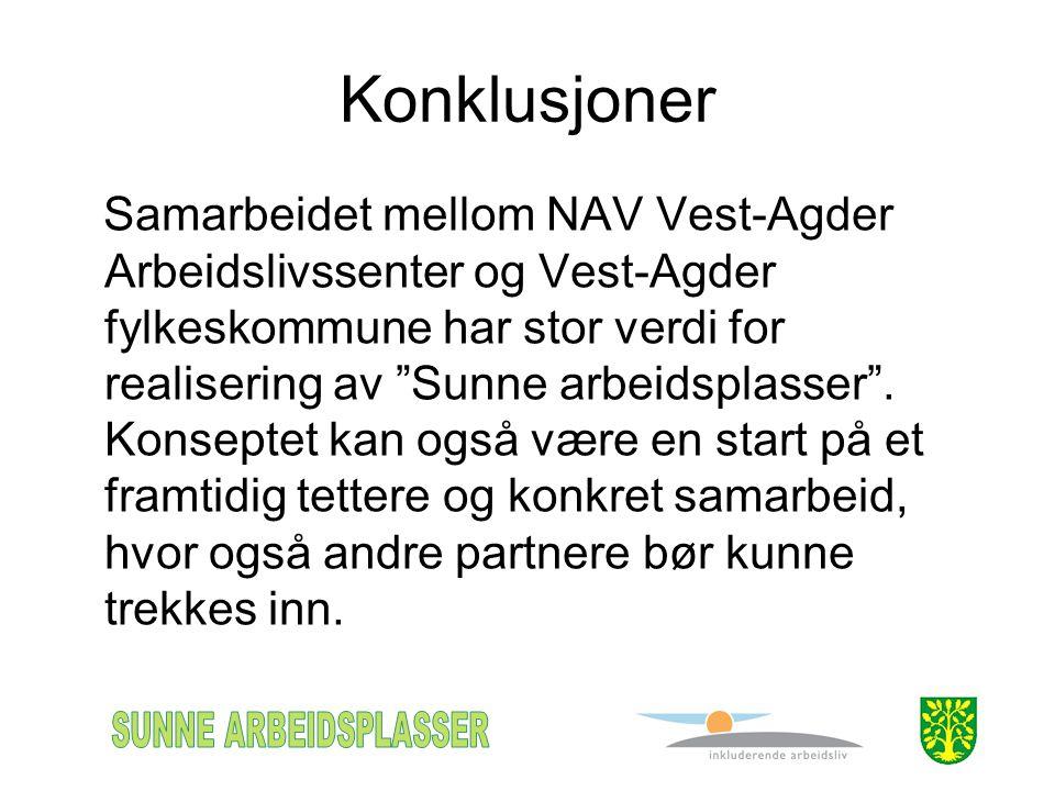 Konklusjoner Samarbeidet mellom NAV Vest-Agder Arbeidslivssenter og Vest-Agder fylkeskommune har stor verdi for realisering av Sunne arbeidsplasser .