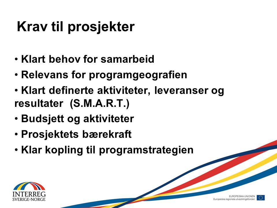 Krav til prosjekter • Klart behov for samarbeid • Relevans for programgeografien • Klart definerte aktiviteter, leveranser og resultater (S.M.A.R.T.) • Budsjett og aktiviteter • Prosjektets bærekraft • Klar kopling til programstrategien