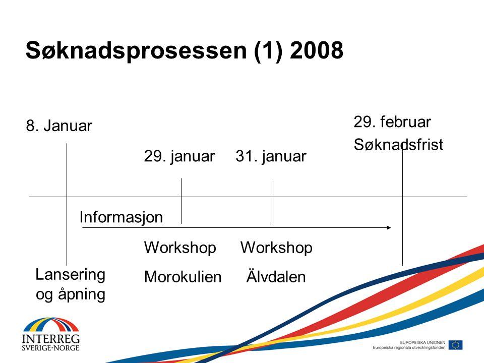 Søknadsprosessen (1) 2008 8.Januar 29. februar Lansering og åpning Workshop Morokulien 29.