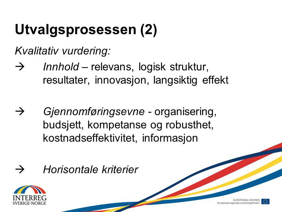 Kvalitativ vurdering:  Innhold – relevans, logisk struktur, resultater, innovasjon, langsiktig effekt  Gjennomføringsevne - organisering, budsjett, kompetanse og robusthet, kostnadseffektivitet, informasjon  Horisontale kriterier Utvalgsprosessen (2)