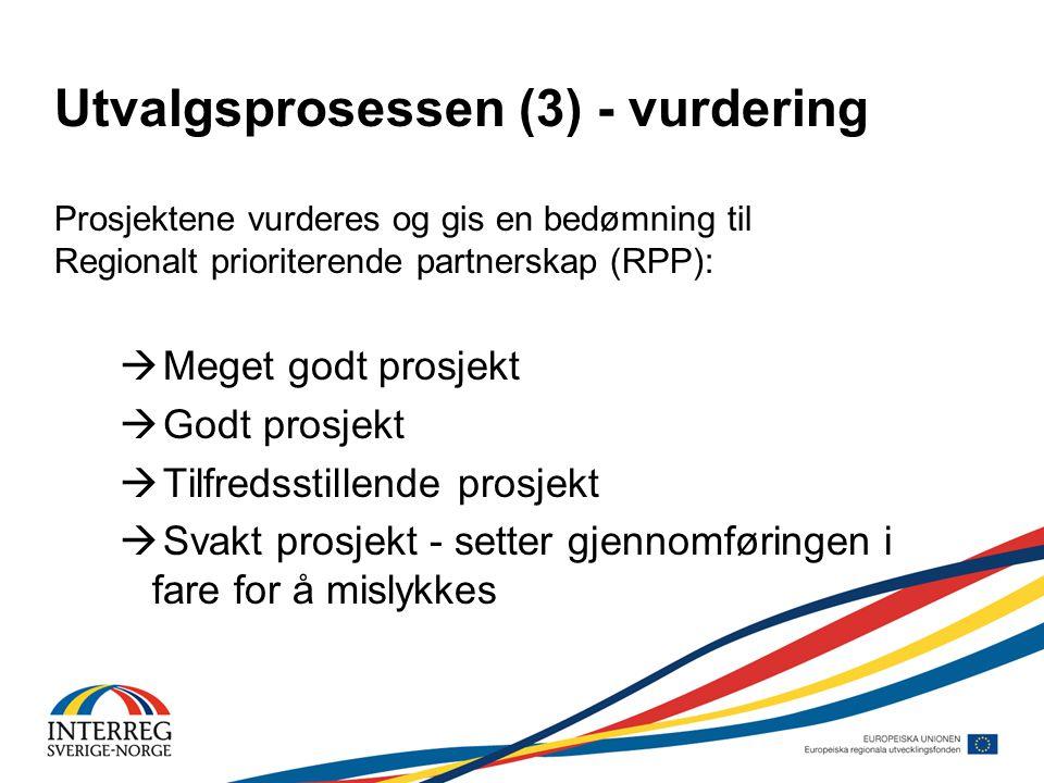 Utvalgsprosessen (3) - vurdering Prosjektene vurderes og gis en bedømning til Regionalt prioriterende partnerskap (RPP):  Meget godt prosjekt  Godt prosjekt  Tilfredsstillende prosjekt  Svakt prosjekt - setter gjennomføringen i fare for å mislykkes