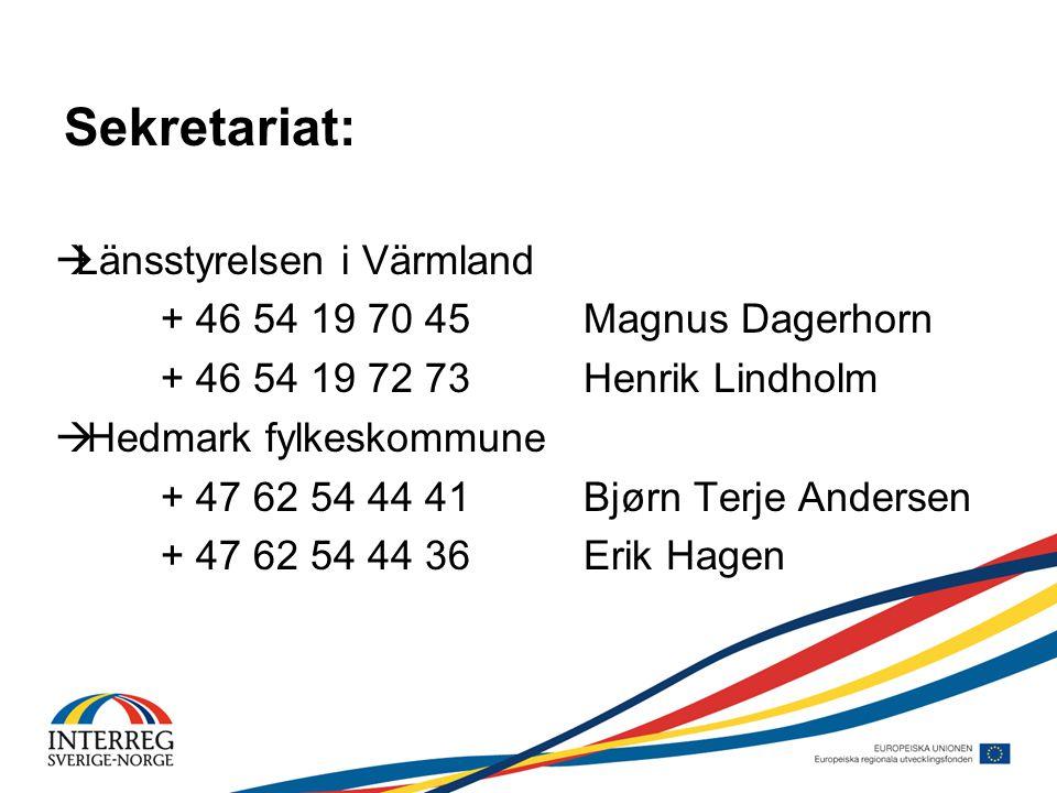 Sekretariat:  Länsstyrelsen i Värmland + 46 54 19 70 45Magnus Dagerhorn + 46 54 19 72 73Henrik Lindholm  Hedmark fylkeskommune + 47 62 54 44 41Bjørn Terje Andersen + 47 62 54 44 36Erik Hagen