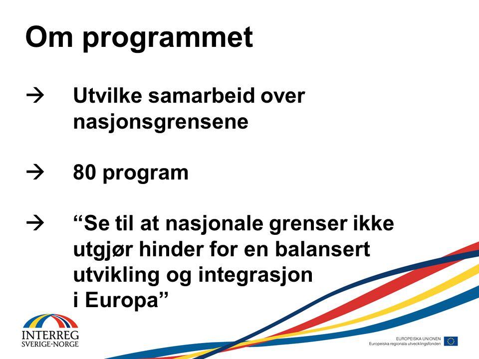 Om programmet  Utvilke samarbeid over nasjonsgrensene  80 program  Se til at nasjonale grenser ikke utgjør hinder for en balansert utvikling og integrasjon i Europa