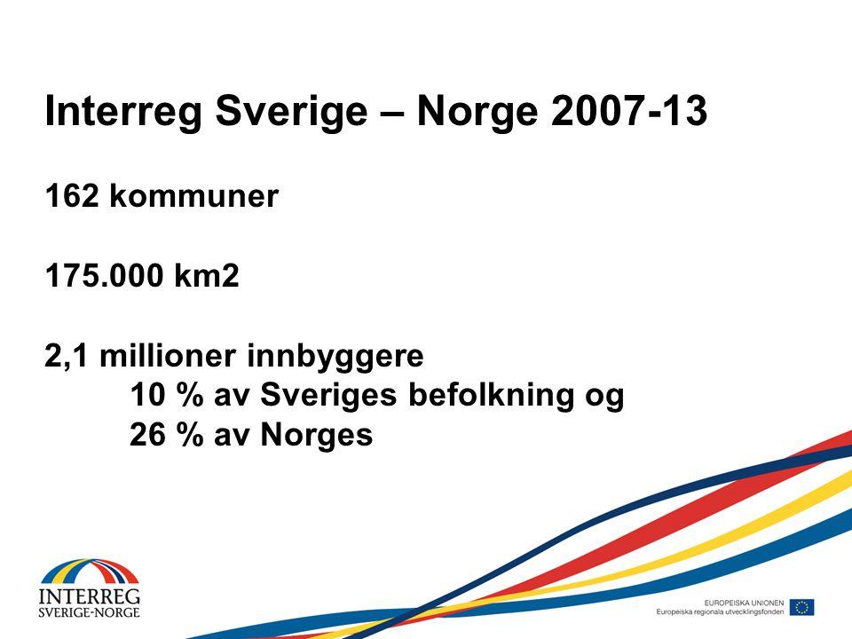 Interreg Sverige – Norge 2007-13 162 kommuner 175.000 km2 2,1 millioner innbyggere 10 % av Sveriges befolkning og 26 % av Norges