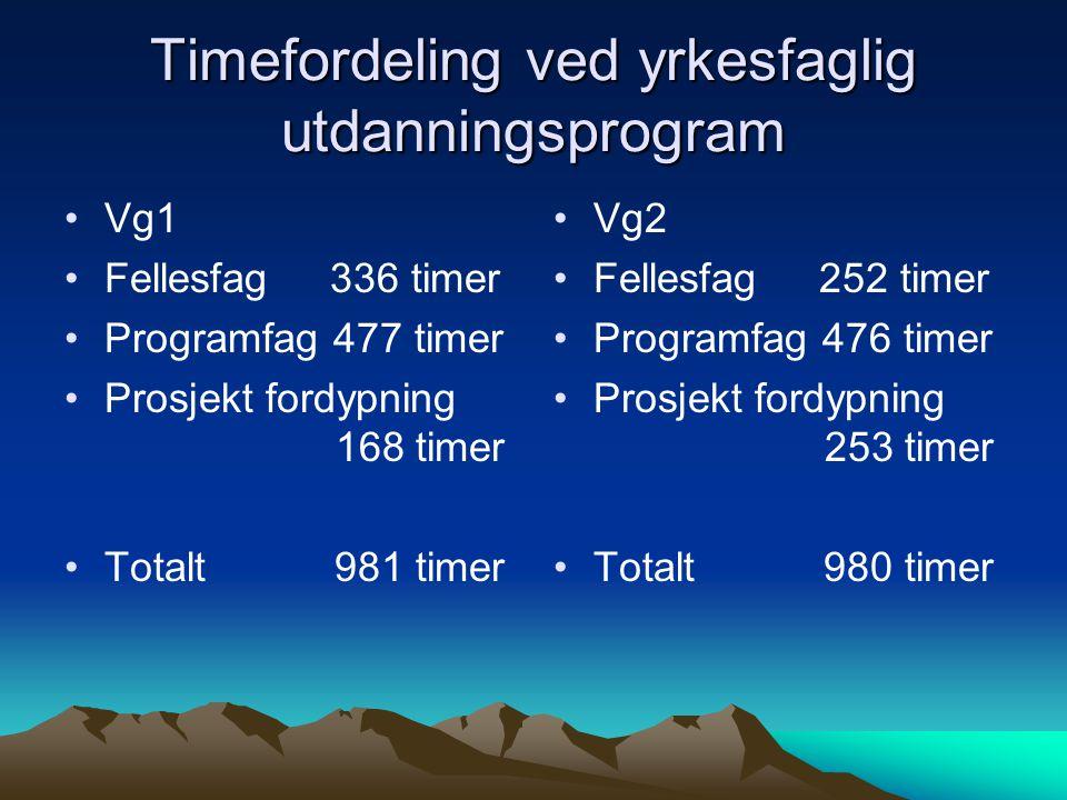Timefordeling ved yrkesfaglig utdanningsprogram •Vg1 •Fellesfag 336 timer •Programfag 477 timer •Prosjekt fordypning 168 timer •Totalt 981 timer • •Vg