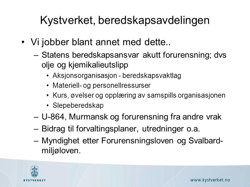 Geografisk ansvarsområde •Norsk territorium –Land (innland) –Territorialfarvann til 12 nm •NØS –200 nm/ grensene •Svalbard og Bjørnøya –SMS innenfor 12 nm (Svalbard) Kystverket utenfor (vernesonen).