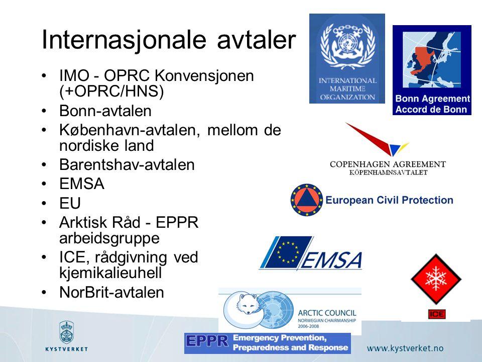 Internasjonale avtaler •IMO - OPRC Konvensjonen (+OPRC/HNS) •Bonn-avtalen •København-avtalen, mellom de nordiske land •Barentshav-avtalen •EMSA •EU •Arktisk Råd - EPPR arbeidsgruppe •ICE, rådgivning ved kjemikalieuhell •NorBrit-avtalen