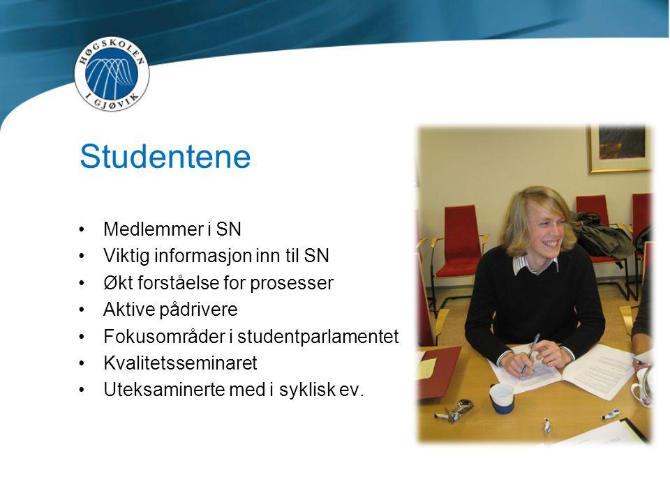 Studentene •Medlemmer i SN •Viktig informasjon inn til SN •Økt forståelse for prosesser •Aktive pådrivere •Fokusområder i studentparlamentet •Kvalitet