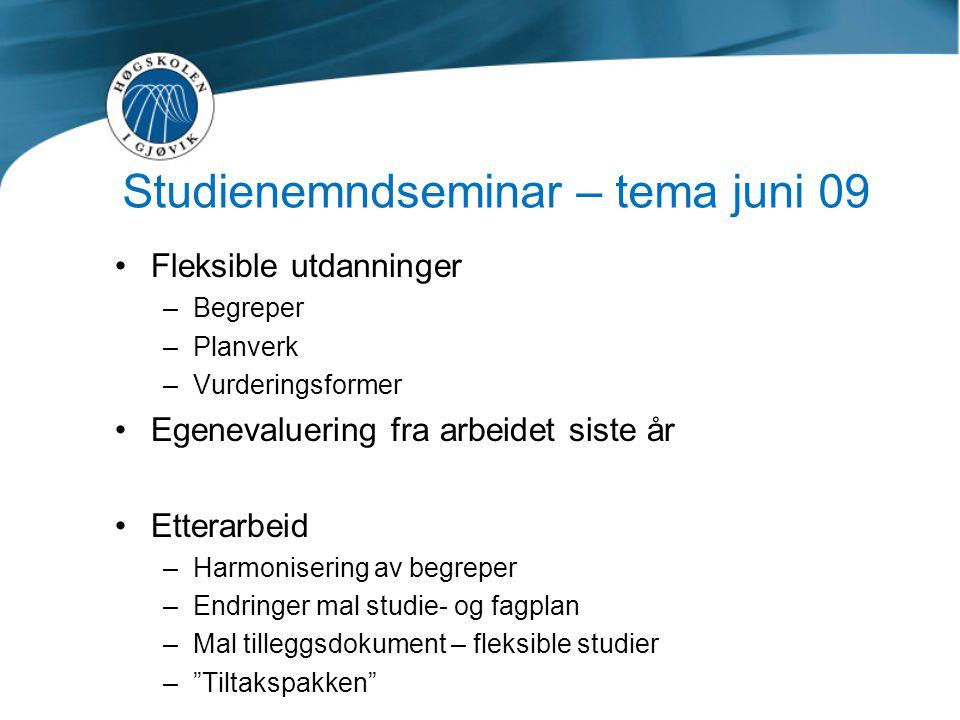 Studienemndseminar – tema juni 09 •Fleksible utdanninger –Begreper –Planverk –Vurderingsformer •Egenevaluering fra arbeidet siste år •Etterarbeid –Har