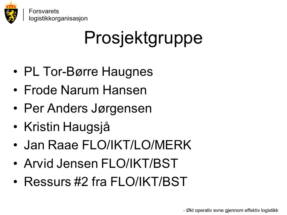 Prosjektgruppe •PL Tor-Børre Haugnes •Frode Narum Hansen •Per Anders Jørgensen •Kristin Haugsjå •Jan Raae FLO/IKT/LO/MERK •Arvid Jensen FLO/IKT/BST •R