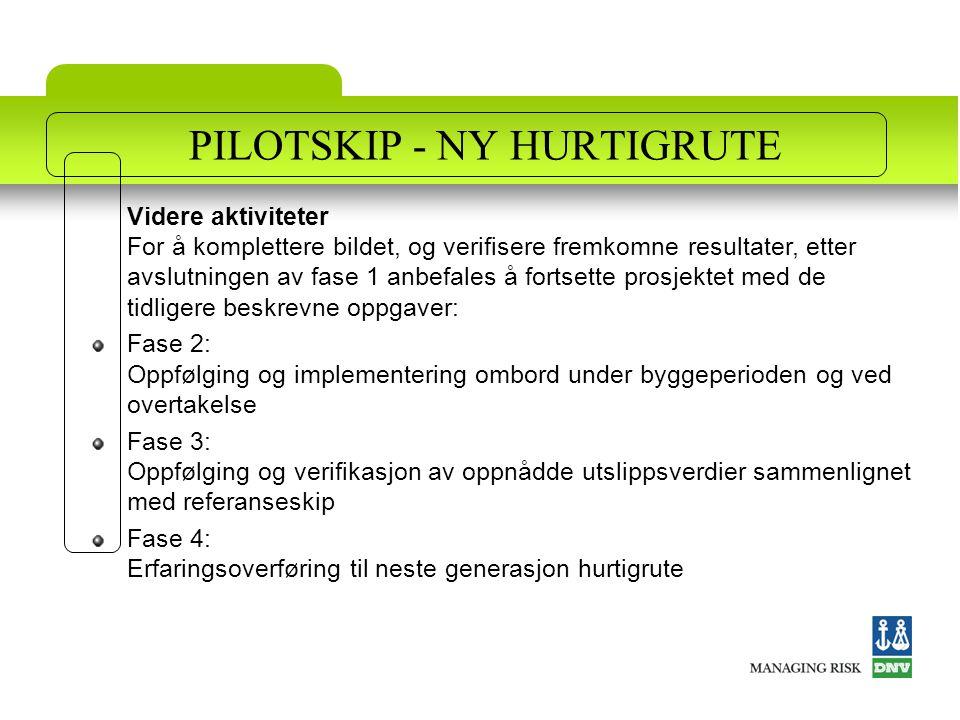 PILOTSKIP - NY HURTIGRUTE Videre aktiviteter For å komplettere bildet, og verifisere fremkomne resultater, etter avslutningen av fase 1 anbefales å fo