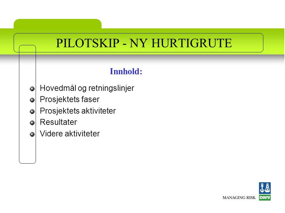 PILOTSKIP - NY HURTIGRUTE Hovedmål og retningslinjer Prosjektets faser Prosjektets aktiviteter Resultater Videre aktiviteter Innhold: