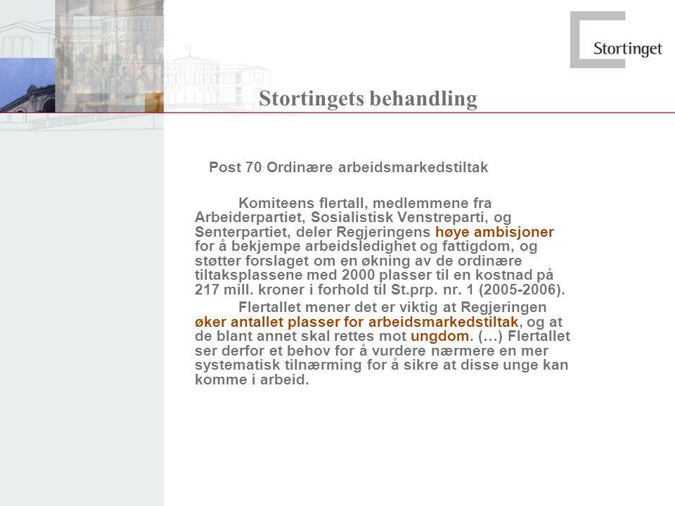 Stortingets behandling Post 70 Ordinære arbeidsmarkedstiltak Komiteens flertall, medlemmene fra Arbeiderpartiet, Sosialistisk Venstreparti, og Senterp