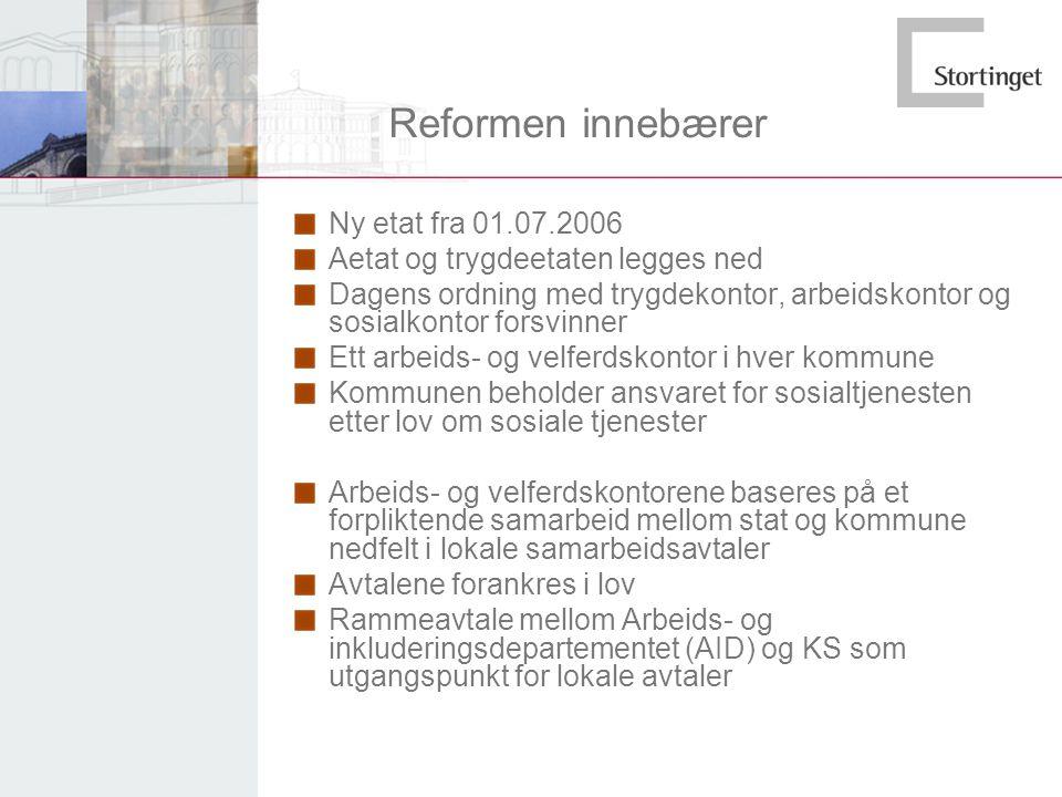 Reformen innebærer Ny etat fra 01.07.2006 Aetat og trygdeetaten legges ned Dagens ordning med trygdekontor, arbeidskontor og sosialkontor forsvinner E