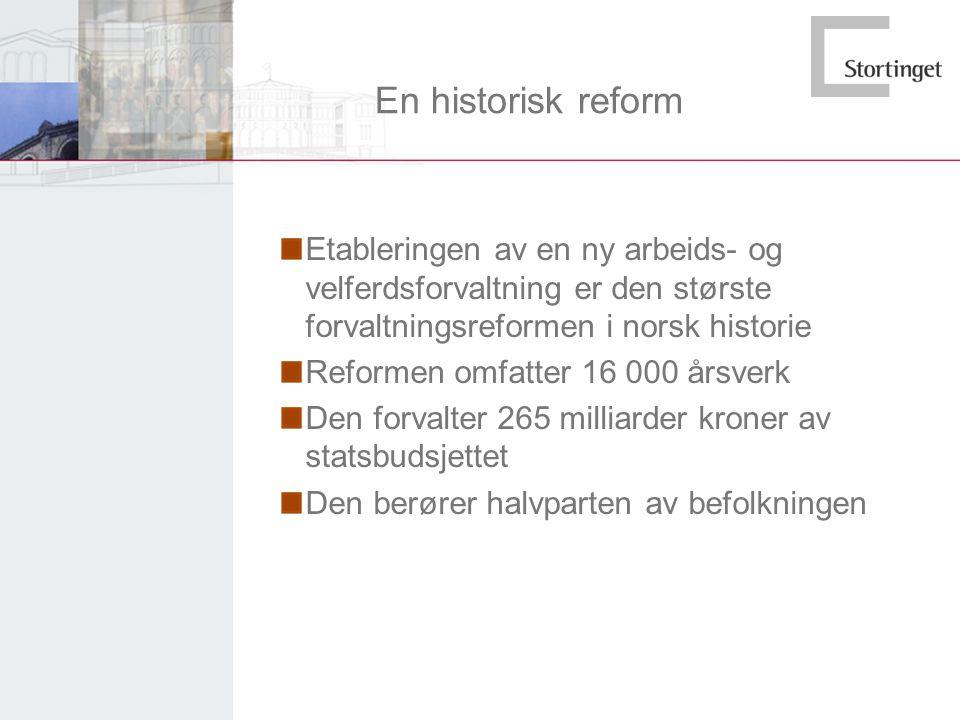 En historisk reform Etableringen av en ny arbeids- og velferdsforvaltning er den største forvaltningsreformen i norsk historie Reformen omfatter 16 00
