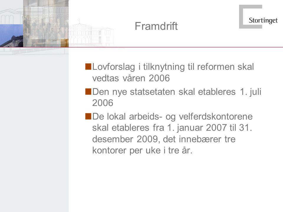 Framdrift Lovforslag i tilknytning til reformen skal vedtas våren 2006 Den nye statsetaten skal etableres 1. juli 2006 De lokal arbeids- og velferdsko