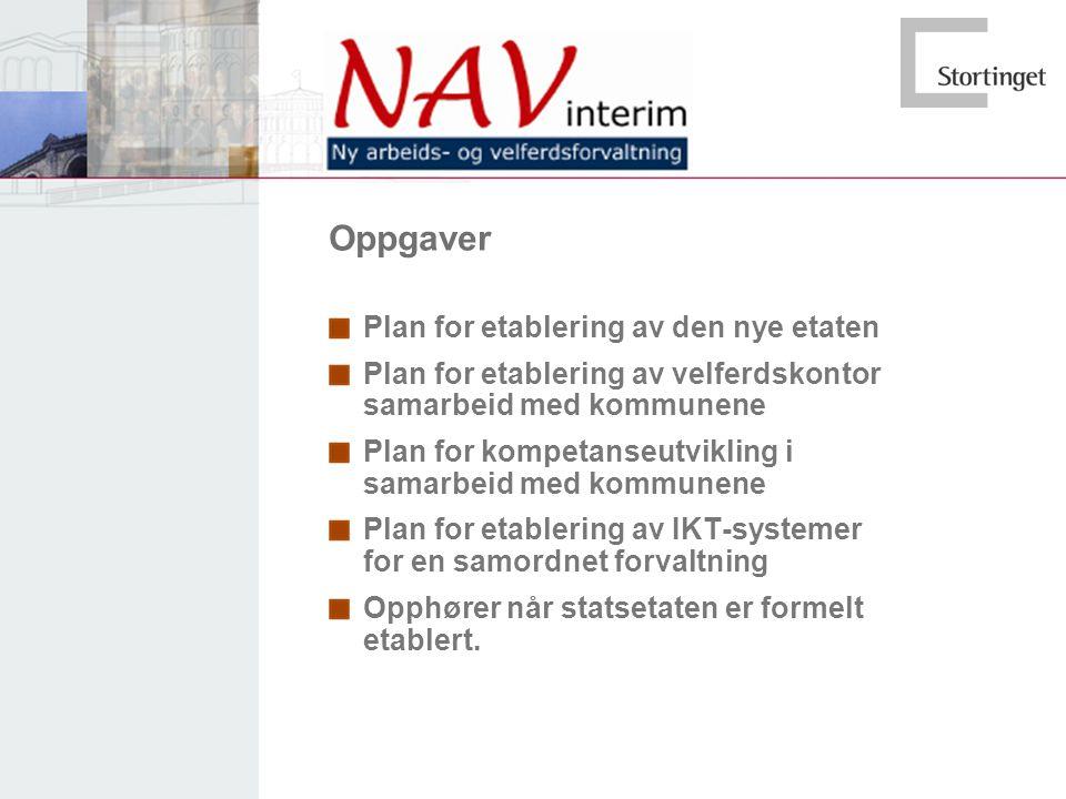 Oppgaver Plan for etablering av den nye etaten Plan for etablering av velferdskontor samarbeid med kommunene Plan for kompetanseutvikling i samarbeid