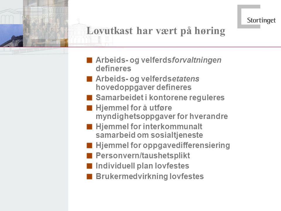 Lovutkast har vært på høring Arbeids- og velferdsforvaltningen defineres Arbeids- og velferdsetatens hovedoppgaver defineres Samarbeidet i kontorene r