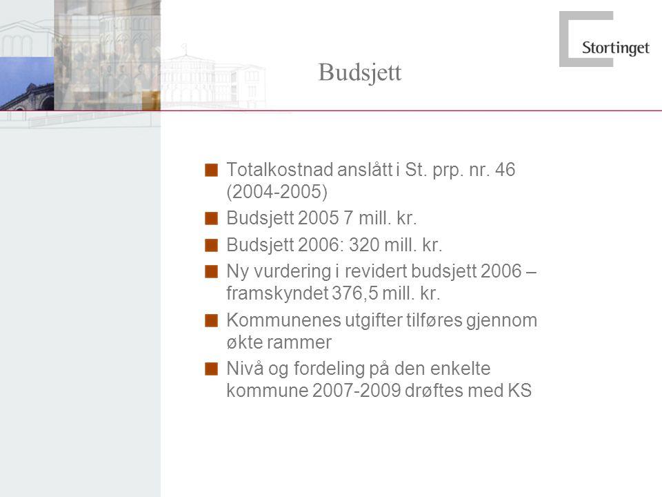 Budsjett Totalkostnad anslått i St. prp. nr. 46 (2004-2005) Budsjett 2005 7 mill. kr. Budsjett 2006: 320 mill. kr. Ny vurdering i revidert budsjett 20