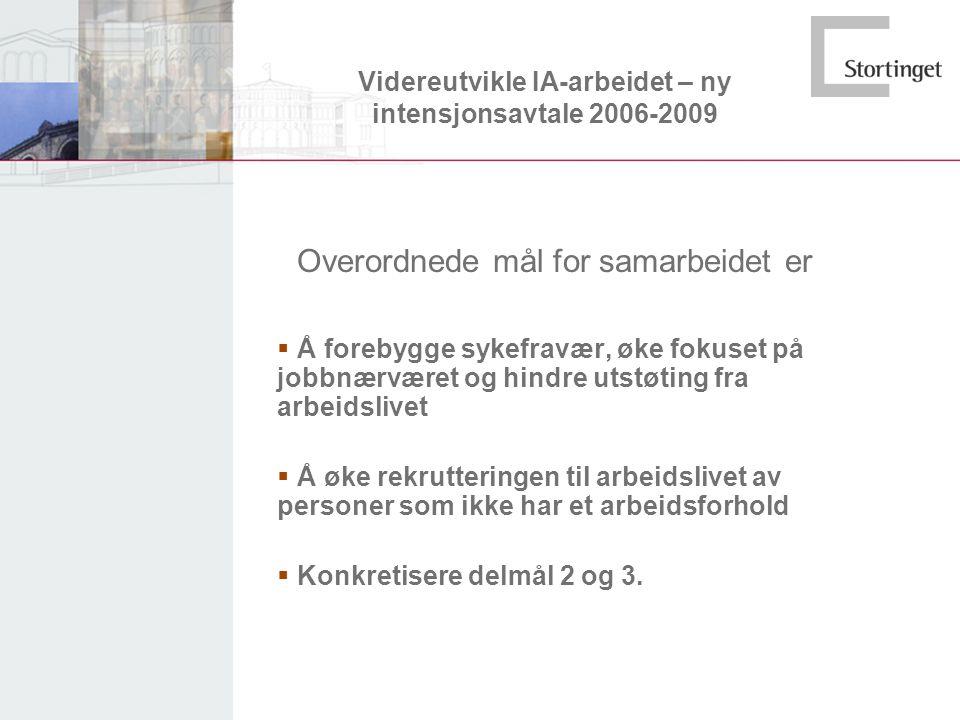 Videreutvikle IA-arbeidet – ny intensjonsavtale 2006-2009 Overordnede mål for samarbeidet er  Å forebygge sykefravær, øke fokuset på jobbnærværet og