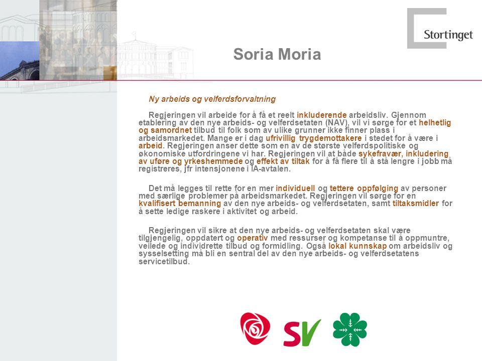 Soria Moria Ny arbeids og velferdsforvaltning Regjeringen vil arbeide for å få et reelt inkluderende arbeidsliv. Gjennom etablering av den nye arbeids