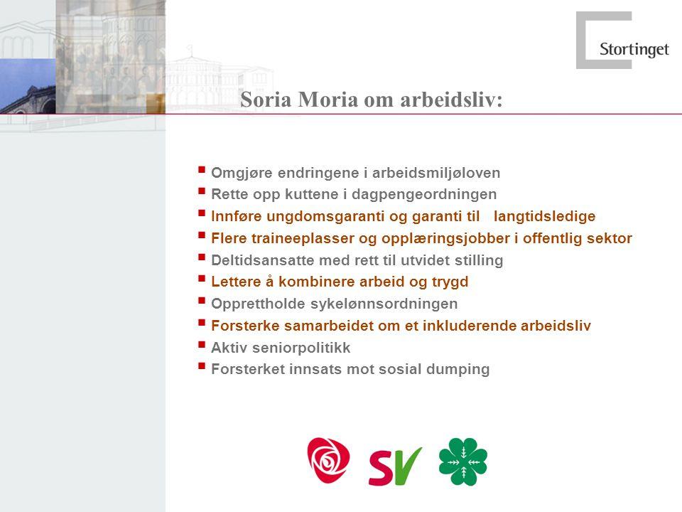 Soria Moria om arbeidsliv:  Omgjøre endringene i arbeidsmiljøloven  Rette opp kuttene i dagpengeordningen  Innføre ungdomsgaranti og garanti til la