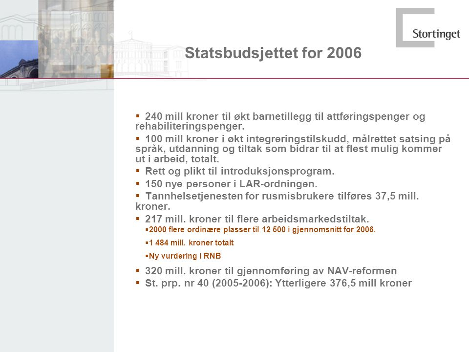 Statsbudsjettet for 2006  240 mill kroner til økt barnetillegg til attføringspenger og rehabiliteringspenger.  100 mill kroner i økt integreringstil