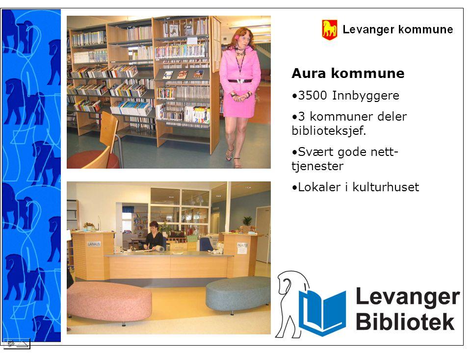 Aura kommune •3500 Innbyggere •3 kommuner deler biblioteksjef. •Svært gode nett- tjenester •Lokaler i kulturhuset