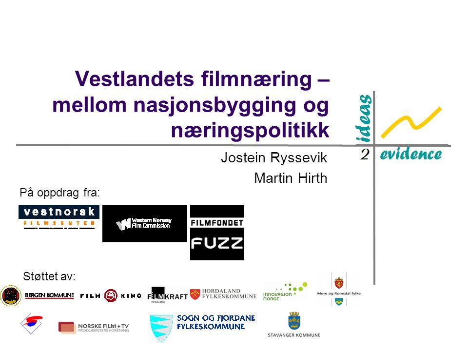 Vestlandets filmnæring – mellom nasjonsbygging og næringspolitikk Jostein Ryssevik Martin Hirth På oppdrag fra: Støttet av: