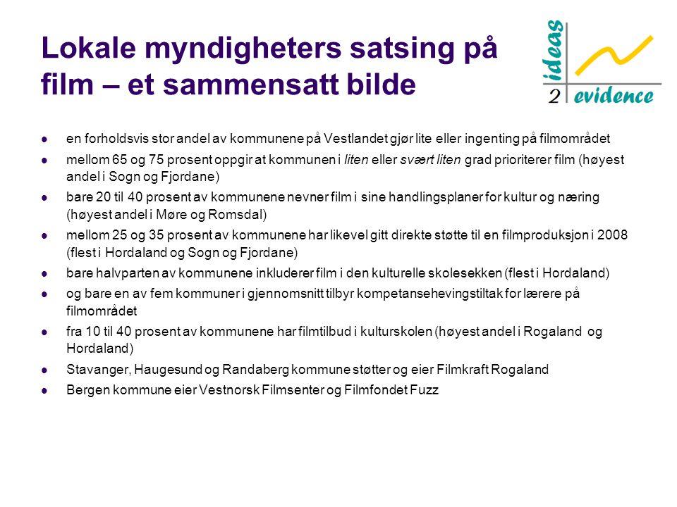Lokale myndigheters satsing på film – et sammensatt bilde  en forholdsvis stor andel av kommunene på Vestlandet gjør lite eller ingenting på filmområ