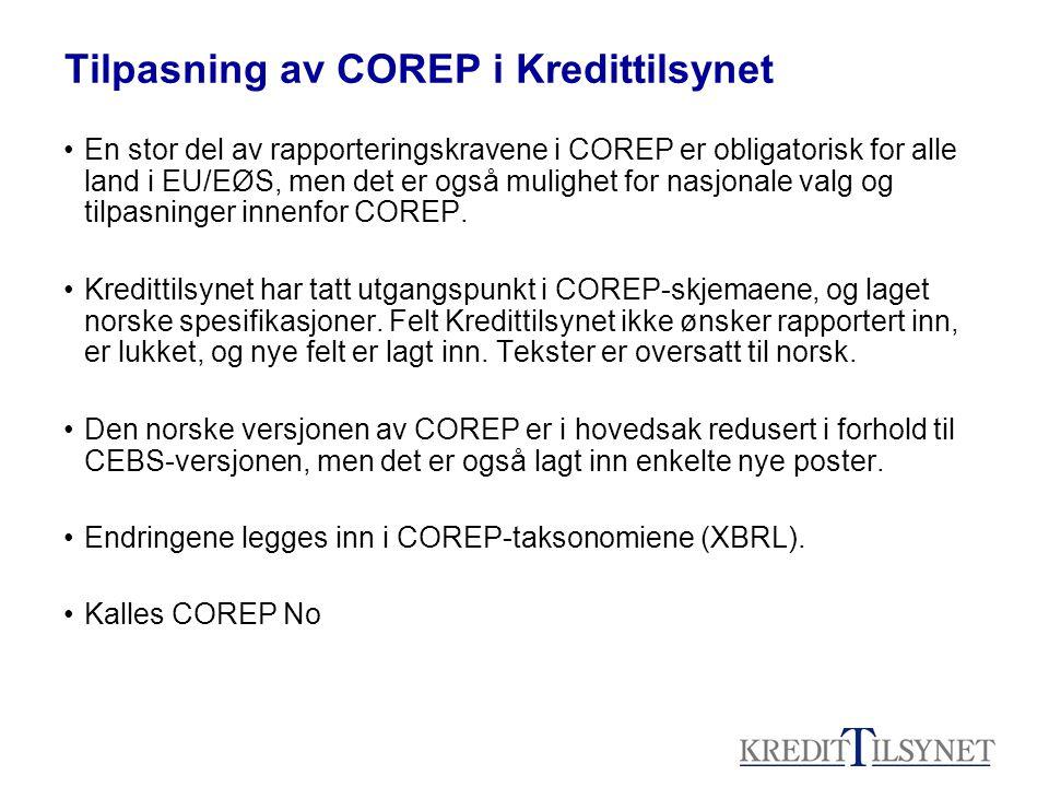 Tilpasning av COREP i Kredittilsynet •En stor del av rapporteringskravene i COREP er obligatorisk for alle land i EU/EØS, men det er også mulighet for