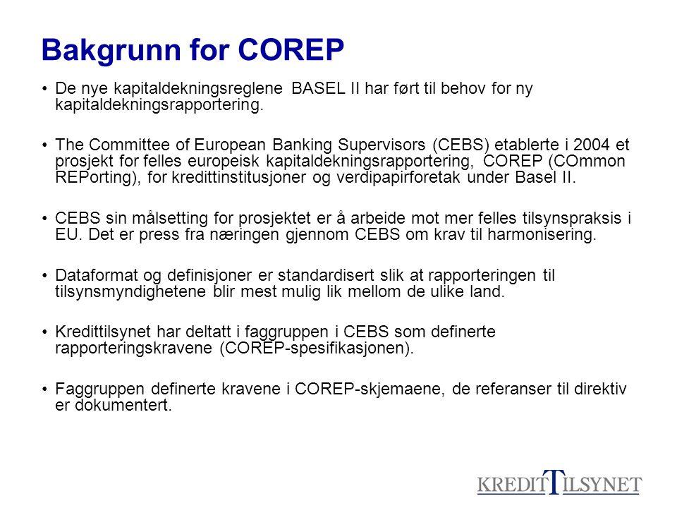 Skisse over teknisk løsning: COREP CEBS Kredittilsynets Internettportal -Innlogging -Innsending -Kontroll og validering -Prosessering -Lagring COREP NO taksonomi Excel-skjema med plug in xbrl Excel med plug-in -Validering -Genere xbrl-fil Database COREP-No xbrl Taksonomi- tilpasning/ -administrasjon
