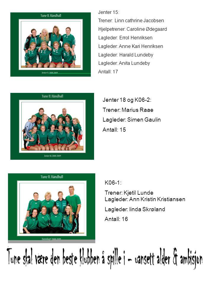 Jenter 15: Trener: Linn cathrine Jacobsen Hjelpetrener: Caroline Ødegaard Lagleder: Errol Henriksen Lagleder: Anne Kari Henriksen Lagleder: Harald Lun