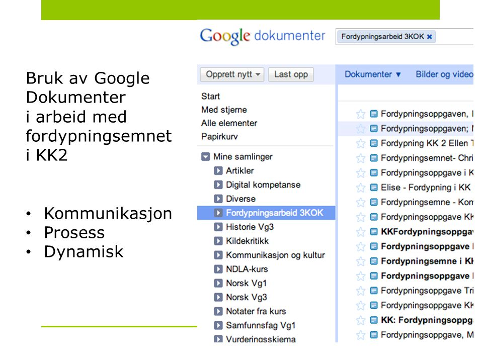 Bruk av Google Dokumenter i arbeid med fordypningsemnet i KK2 • Kommunikasjon • Prosess • Dynamisk