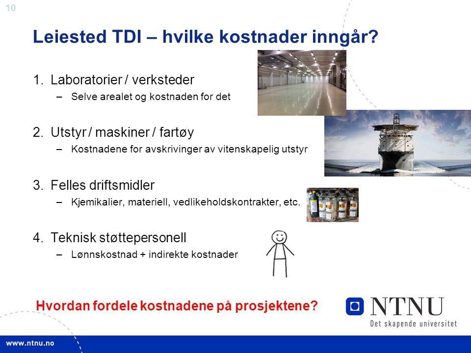 10 Leiested TDI – hvilke kostnader inngår? 1.Laboratorier / verksteder –Selve arealet og kostnaden for det 2.Utstyr / maskiner / fartøy –Kostnadene fo