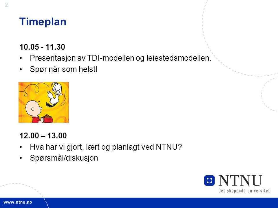 2 Timeplan 10.05 - 11.30 •Presentasjon av TDI-modellen og leiestedsmodellen. •Spør når som helst! 12.00 – 13.00 •Hva har vi gjort, lært og planlagt ve